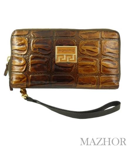 Женский кожаный кошелёк-клатч Wanlima W82022340003 - Фото №1