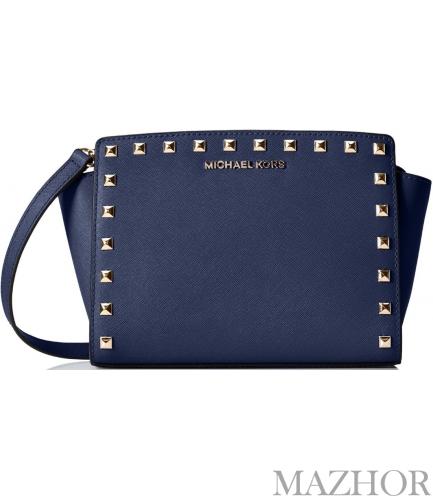 b358efaca9ce Женская сумка Michael Kors Selma Stud Leather Medium Messenger Bag Navy  30T3GSMM2L-406 - Фото