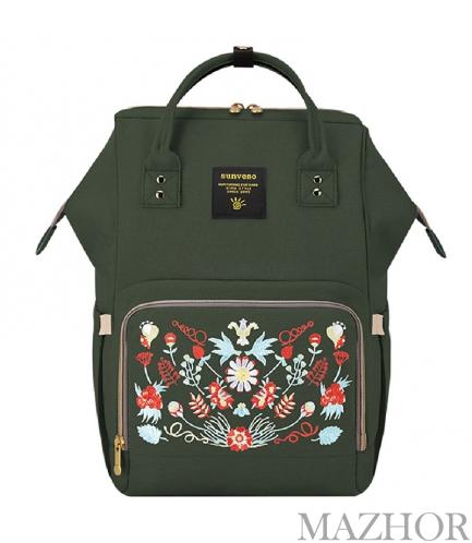 Рюкзак для мамы Sunveno Diaper Bag Dark Green Embroidery NB22179.UNI - Фото №1